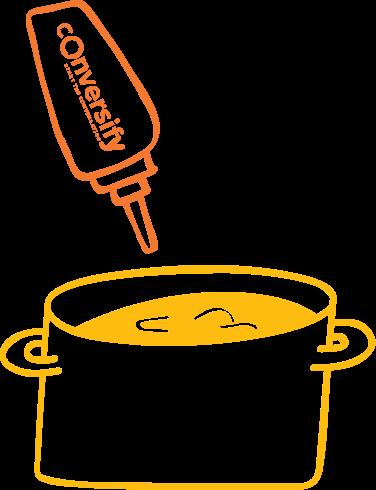 sauce bottle pointing toward pot