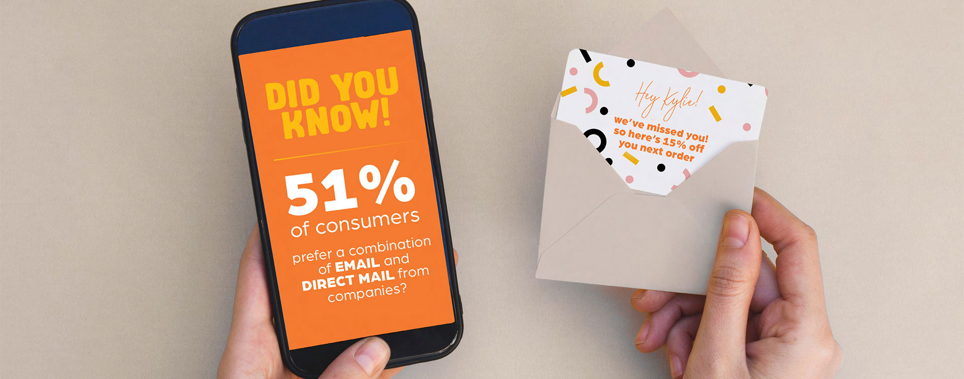 digital direct marketing on mobile phone and envelope