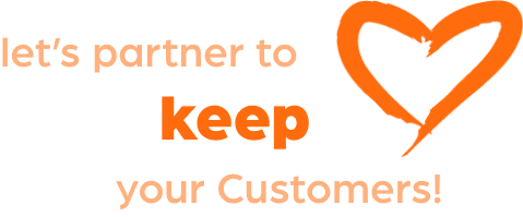lets keep customers with love heart icon