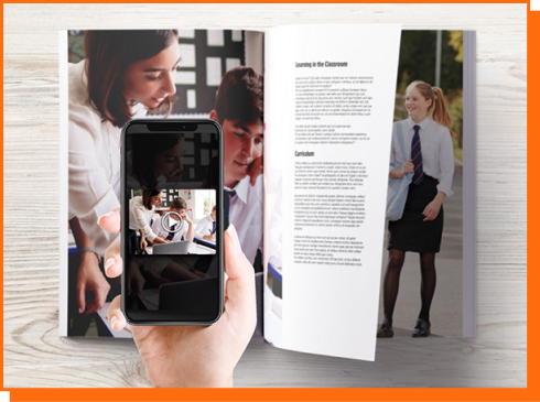 school book and mobile phone