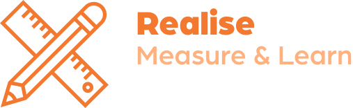 pencil and rules icon with realise measure & learn text