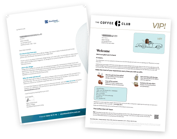 the coffee club & Stockland Welcome Letters